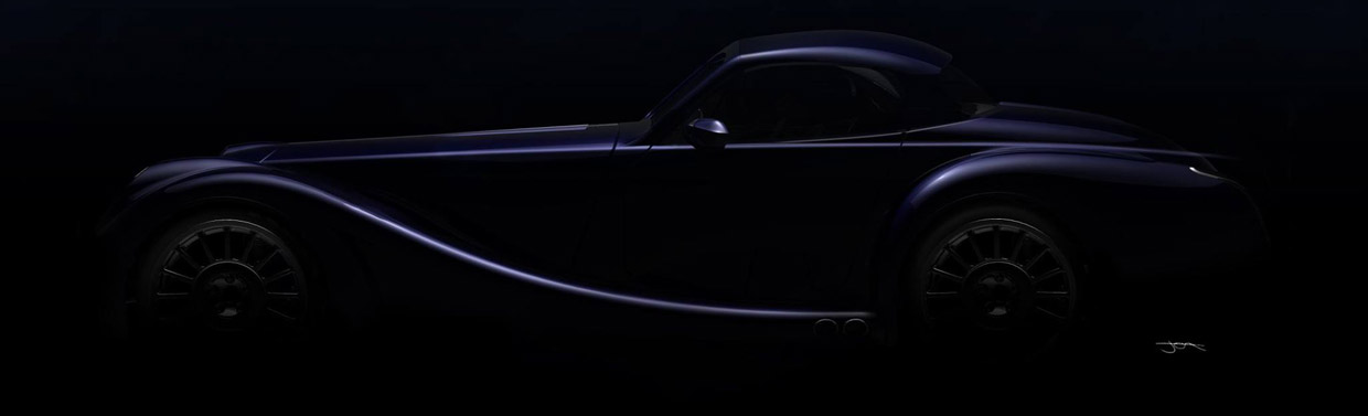 The final teaser image showing the sleek profile of the future turbocharged Morgan.