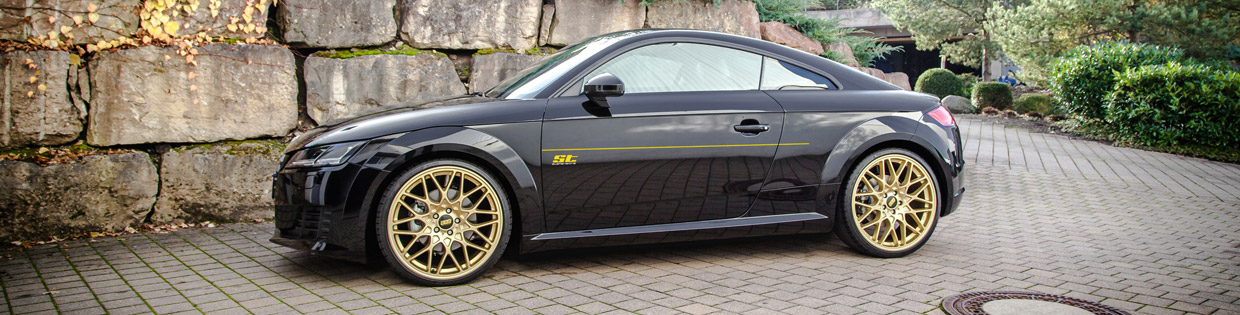 Audi TT on Golden Wheels Side View