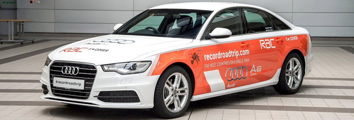 Audi A6 2.0 TDI ultra with Guinness World Record livery