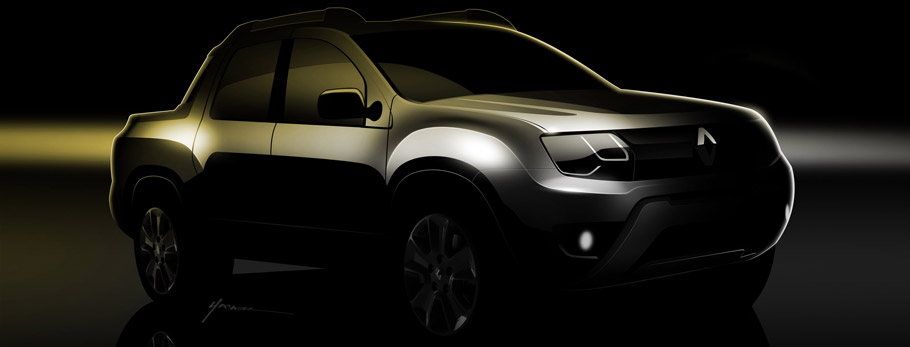 Renault's Duster Based Pickup Teaser Front View