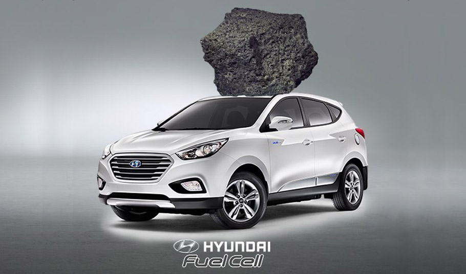 Hyundai Tucson Fuel Cell with Moon Rock Present