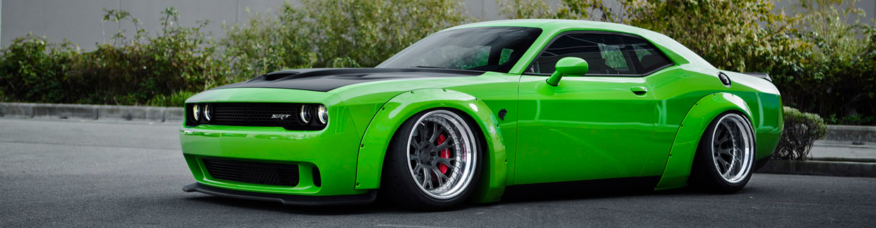 Liberty Walk Dodge Challenger Hellcat Front and Side View