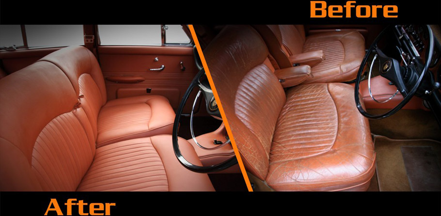1968 Jaguar 420 by Carbon Motors Interior Before and After