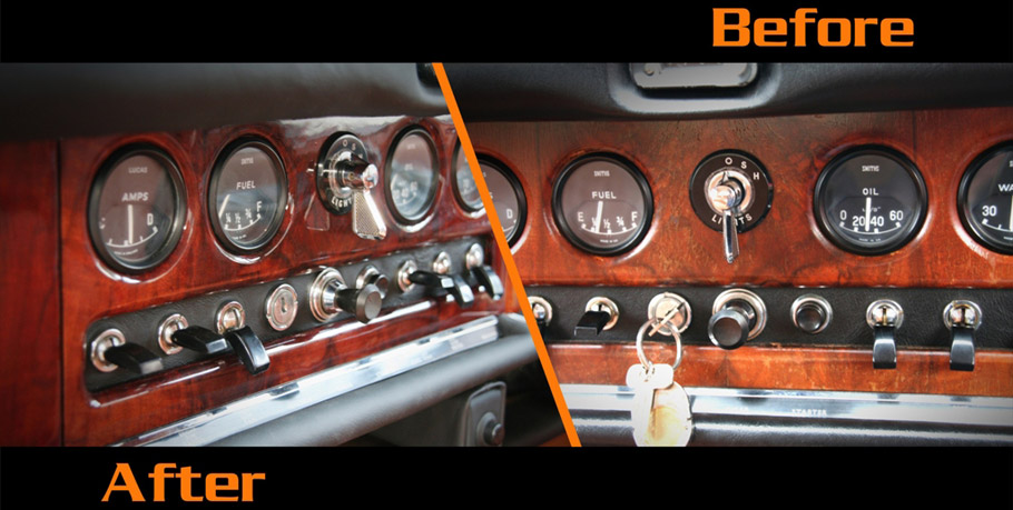 1968 Jaguar 420 by Carbon Motors Wood Trim Before and After
