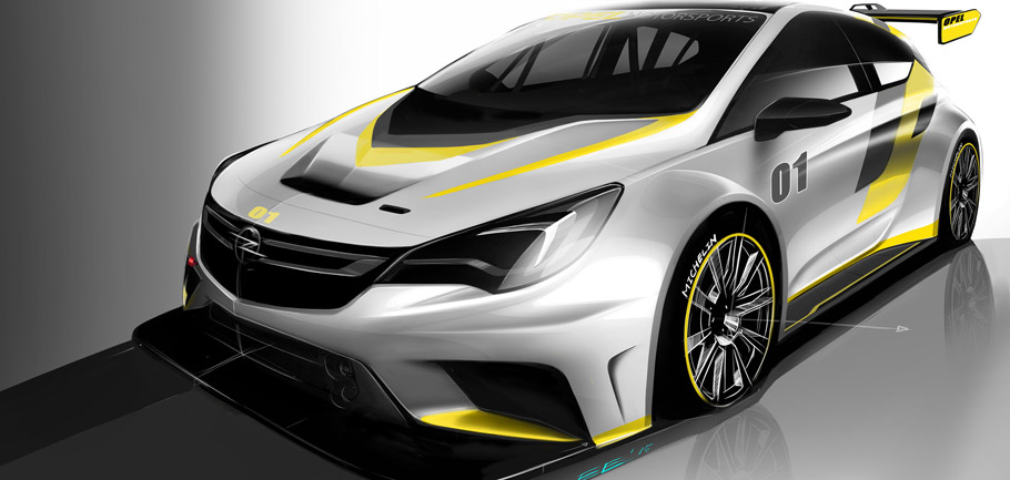 Opel Astra TCR Front View Sketch