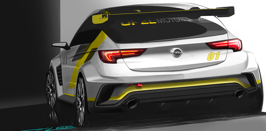 Opel Astra TCR Rear View Sketch