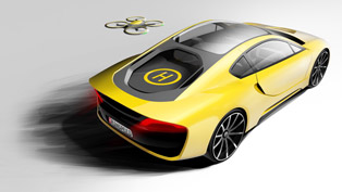 rinspeed Ʃtos concept demonstrates foldable steering wheel and a drone
