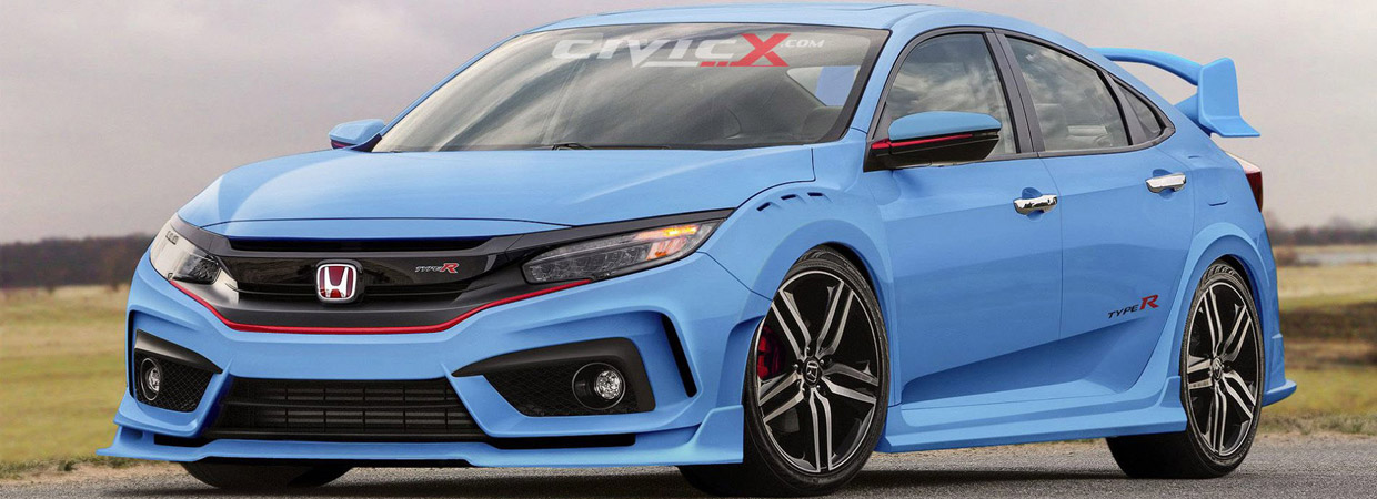 2017 Honda Civic Type R Hatchback Prototype Render in Blue