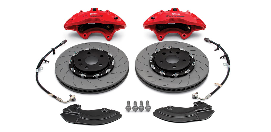 Brembo® performance front brake package (six-piston calipers)