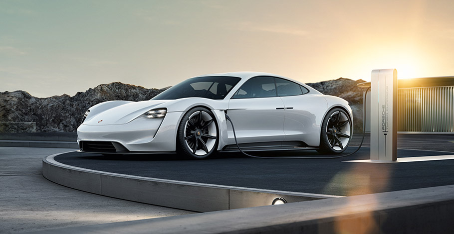 Porsche Mission E at a Charging Station