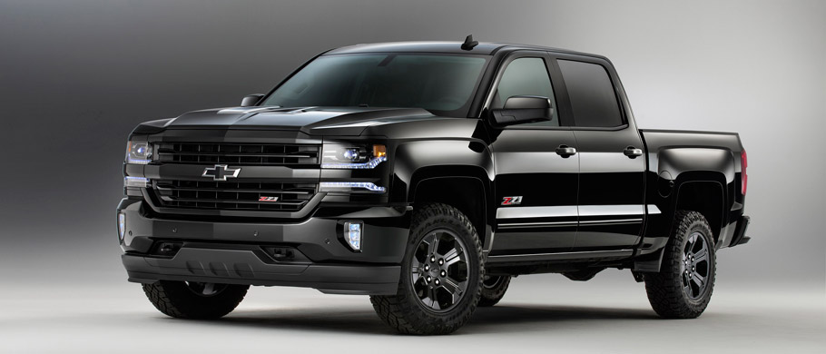 Chevrolet Silverado 1500 Z71 and Colorado Z71 Midnight Special Editions Front View