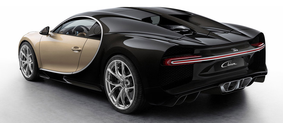 Bugatti Chiron Colorized Rear View
