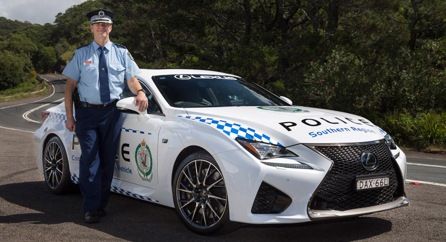 Lexus RC F NSW Police Coupe Side view with officer