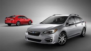 subaru showcases 2017 impreza hatch and sedan models