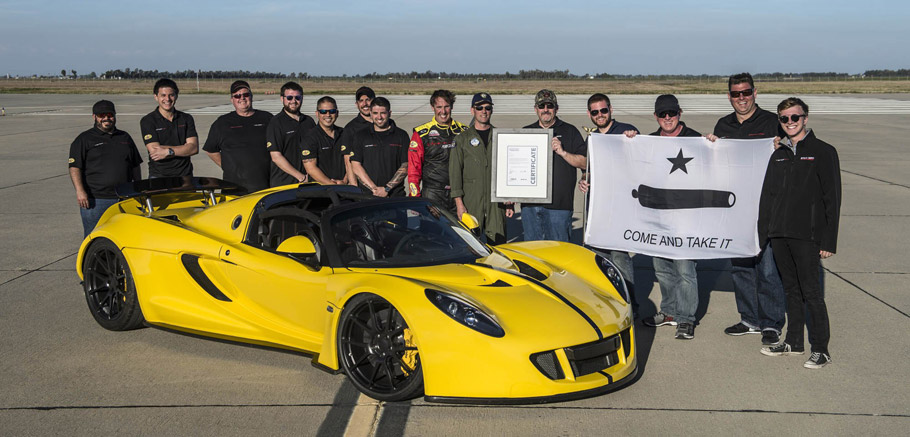 Hennessey Venom GT Spyder  Side view plus certification