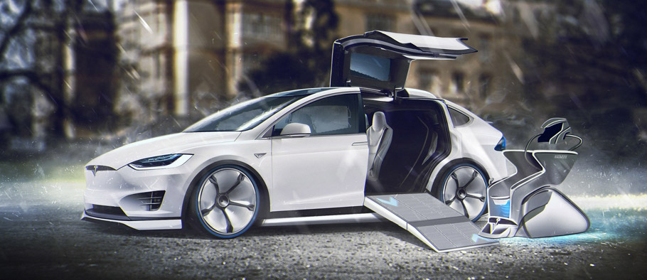 Charles Xavier Driving Tesla Model X