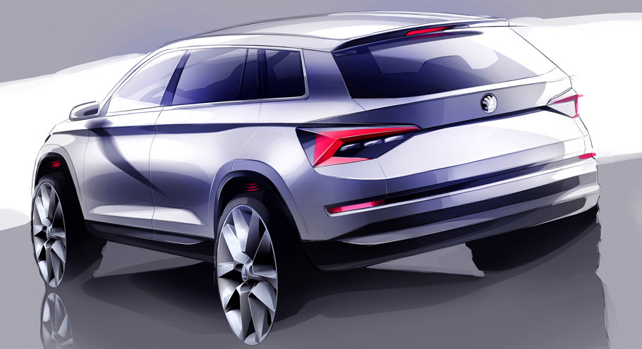Skoda Kodiaq Sketch - rear view