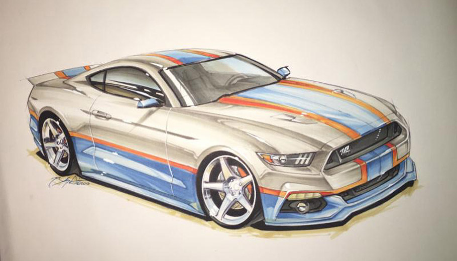 King Edition Ford Mustang by Petty's Garage first sketch