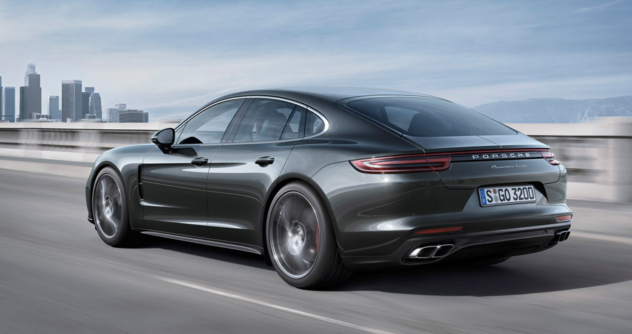 2017 Porsche Panamera rear and side view