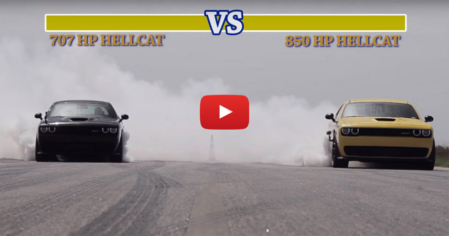 707 HP Hellcat vs 850 HP Hennessey Hellcat Street Fight YouTube Image