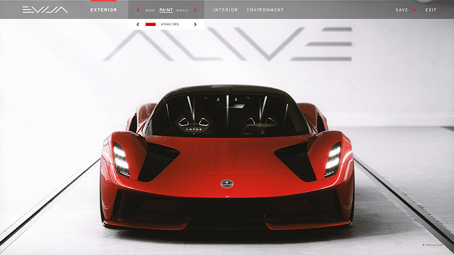 2020 Lotus Evija Digital Configurator