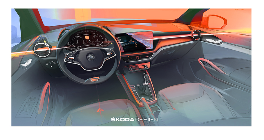 2021 SKODA Fabia Interior Sketch