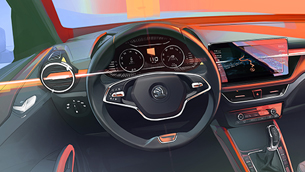 SKODA reveals a new interior sketch of the new Fabia lineup
