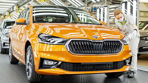 The latest SKODA Fabia model rolls out of the production line