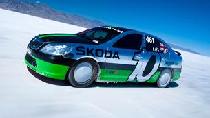 ŠKODA  team celebrates the 10th anniversary of its  Land Speed Record sprint